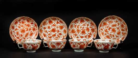 Four Chinese Bird and Butterfly Cups and Saucers