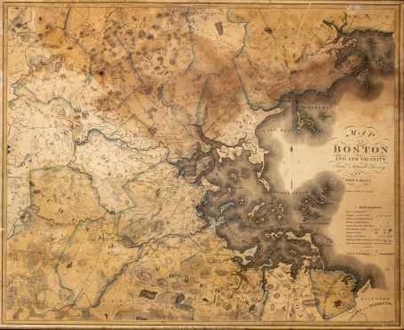 "1819 Map of Boston Published ""John Giltales"" Philadelphia"