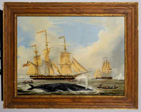 "19thC American School Painting ""UNCAS"" Whaling off Cape of Good Hope"