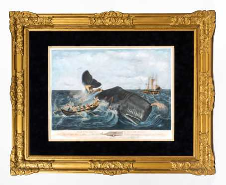 "19thC Colored Print ""Capturing a Sperm Whale"""