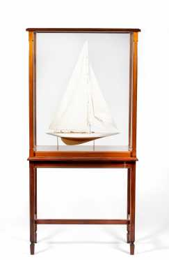 Model Sailboat with Standing Wooden Display Case