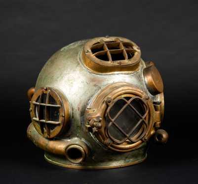 Bronze and Steel Diving Helmet