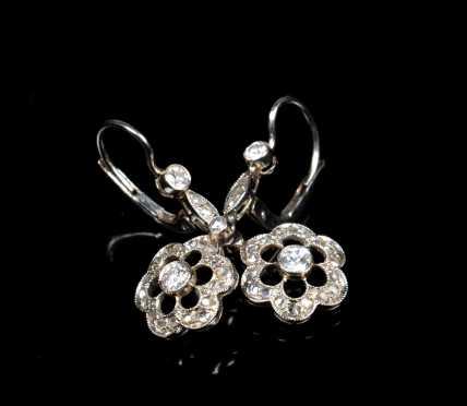 Antique Diamond Milgrain Drop Earrings