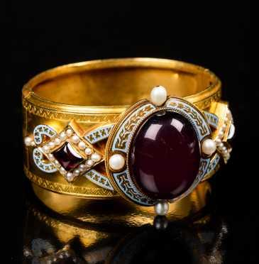 Antique 18K Gold, Garnet, Pearl, and Enamel Bracelet