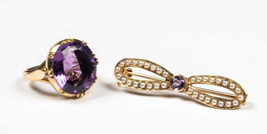 Antique 14k Amethyst Ring and Pin