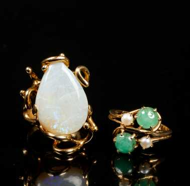 Two 14K Gold and Gemstone Rings