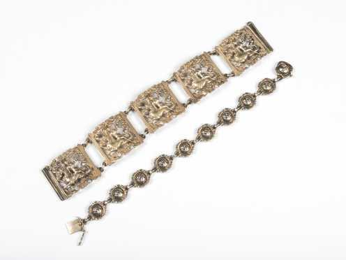 Georg Jensen Rose Bud Link Bracelet and Figural Panel Bracelet