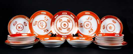 Lot of Russian Porcelain in the Chinese Taste with Persian Markings on Verso