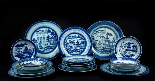 Lot of Twenty Chinese 19thC Canton Plates and Dishes
