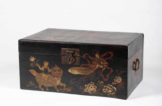 19thC Chinese Export Decorated Pig Skin Box