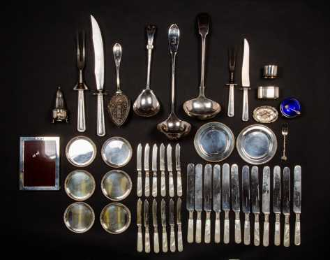 Miscellaneous Sterling and Mother of Pearl Handled Knives