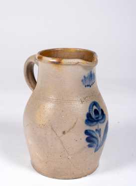 Blue Flower Decorated 19thC Stoneware Pitcher