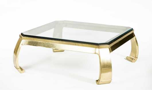 Karl Springer Hollywood Regency Brass and Glass Coffee Table