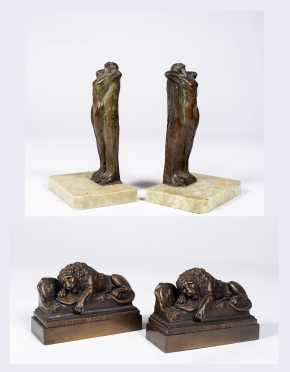 Pair of Art Nouveau and Lion Bronze Bookends
