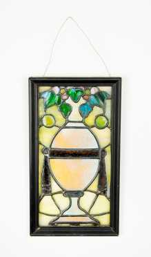 Leaded Stained Glass Panel of Vase with Ivy