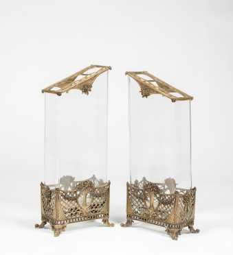 Pair 20thC Bronze and Glass Flower Vases