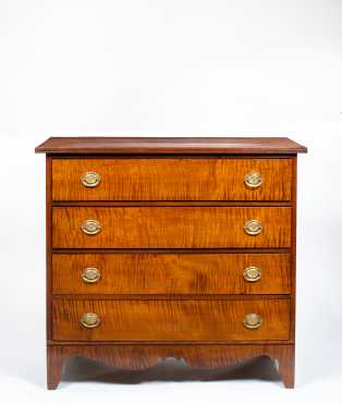 Tiger Maple New Hampshire Hepplewhite Four Drawer Chest