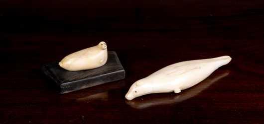 Two Eskimo Carved Walrus Seals