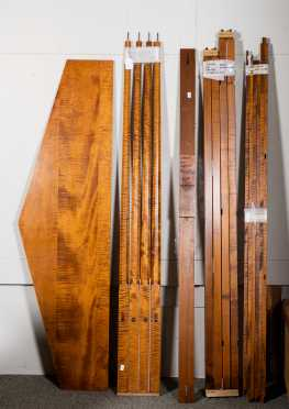 Modern Tiger Maple Pencil Post King Size Bed