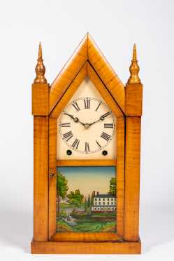 """Ansonia"" Tiger Maple Case Steeple Clock"