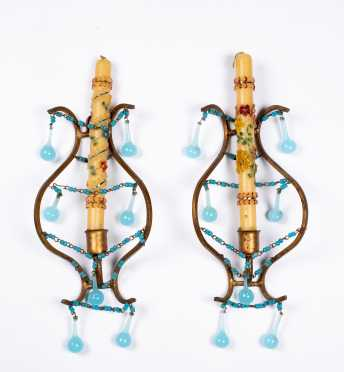Pair of Bronze and Blue Glass Candle Sconces