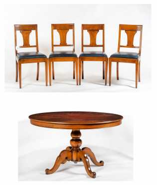 French Empire Style Dining Set with Eight Chairs