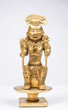 "10"" Tall Pre-Columbian Tairona Gold Seated Female Figure"