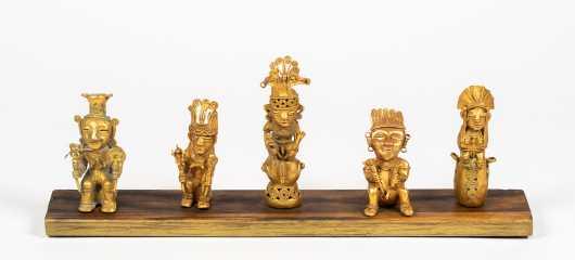 Five Tairona Gold Pre-Columbian Figures