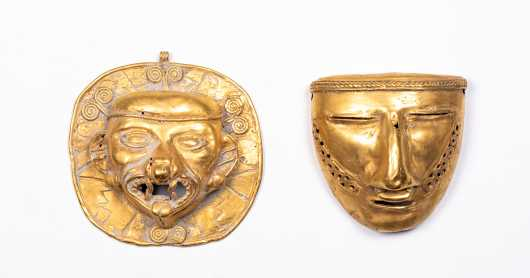 Two Pre-Columbian Tairona Gold Maskettes