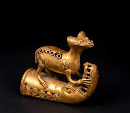 """Pre-Columbian """"Tairona"""" Gold Animal Figure"""