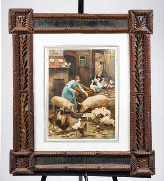 Tramp Art Frame with Marriage Certificate