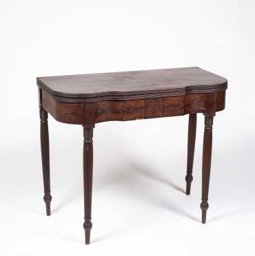 American Federal Mahogany Serpentine Front Card Table