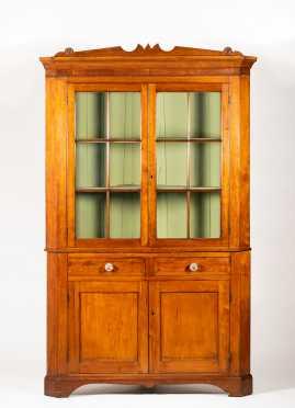 Pennsylvania Ohio Cherry Glazed Door Corner Cupboard