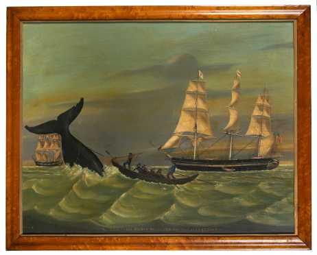 20thC Whaling Scene Painting