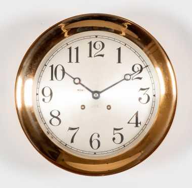 """Chelsea"" Ships Bell 10"" Diameter Red Brass Wall Clock"