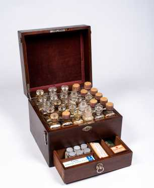 American Apothecary Traveling Mahogany Case- Complete