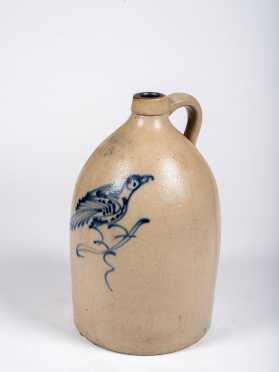 Fort Edward Pottery Co. Three Gallon Jug with Blue Bird Decoration