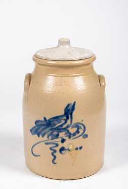 No Name Two Gallon Stoneware Churn with Blue Bird Decoration