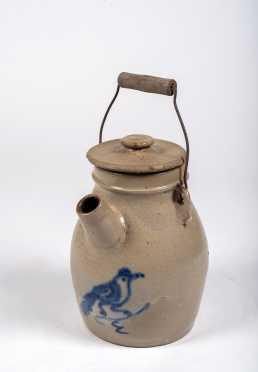 Wire Handle Stoneware Pouring Jug with Blue Bird Decoration