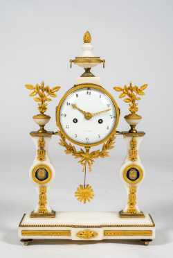 Louis XVI French Marble and Gilt Brass Portico Clock
