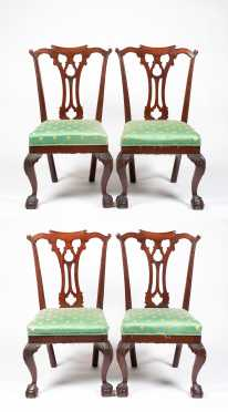 Set of Four Mahogany Philadelphia Style Dining Chairs