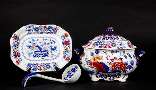 "19thC ""Gaudy Welsh"" ""Ironstone"" China Tureen"
