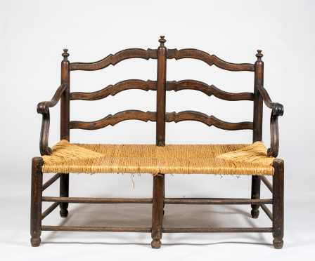 18thC Country French Fruitwood Settee