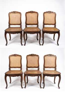 Set of Six French Fruitwood Style Dining Chairs