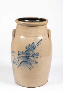 Ottman & Bros, Fort Edward NY Stoneware Floral Decorated Butter Churn