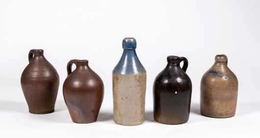 Five Miscellaneous 19thC Stoneware Jugs / Bottles