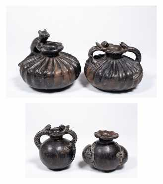 Four Mexican Figural Pottery Vases / Pitchers