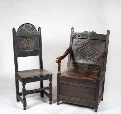 Two English Jacobean Oak Wainscot Chairs