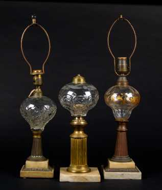 Three Pattern Glass Footed Fluid Lamps