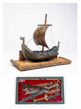 "A ""Viking"" Miniature Boat and Artifacts Lot"